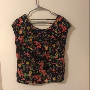 Green, pink and yellow top with cutout back